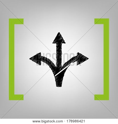 Three-way direction arrow sign. Vector. Black scribble icon in citron brackets on grayish background.