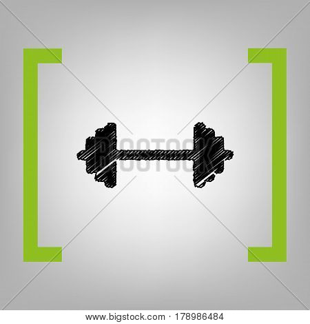 Dumbbell weights sign. Vector. Black scribble icon in citron brackets on grayish background.