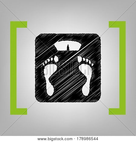 Bathroom scale sign. Vector. Black scribble icon in citron brackets on grayish background.