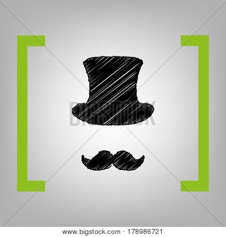 Hipster accessories design. Vector. Black scribble icon in citron brackets on grayish background.