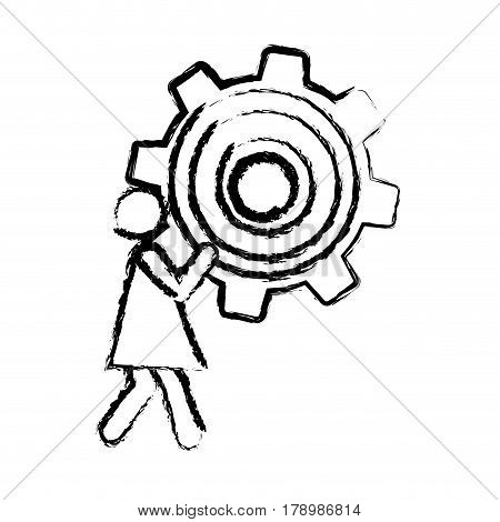 sketch of woman holding a pinion vector illustration