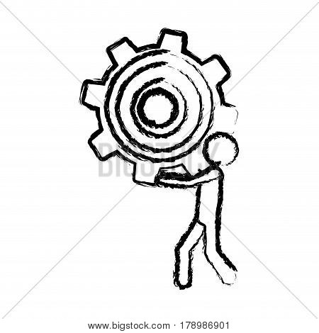 sketch of man holding a pinion vector illustration
