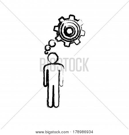 sketch of man thought in a pinion vector illustration