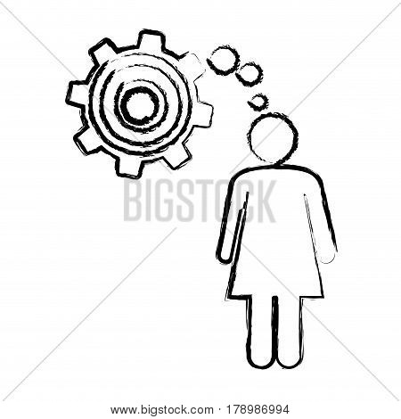sketch of woman thought in a pinion vector illustration