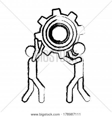 sketch of men holding a pinion vector illustration