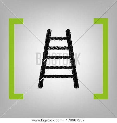 Ladder sign illustration. Vector. Black scribble icon in citron brackets on grayish background.