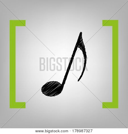 Music note sign. Vector. Black scribble icon in citron brackets on grayish background.