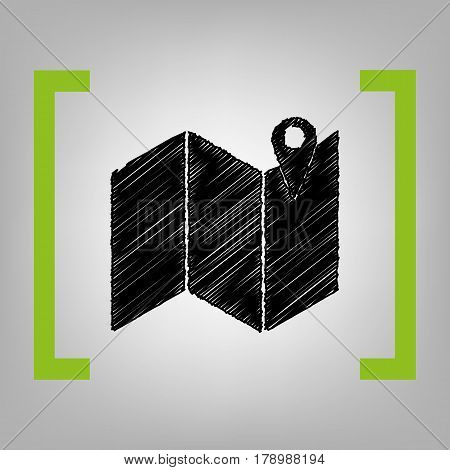 Pin on the map. Vector. Black scribble icon in citron brackets on grayish background.