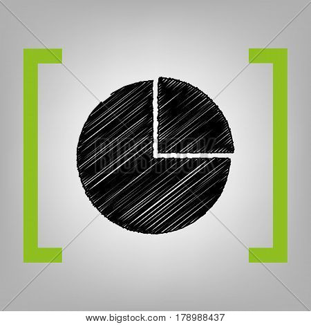 Business graph sign. Vector. Black scribble icon in citron brackets on grayish background.