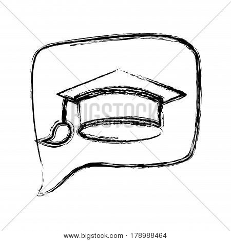 figure square chat bubble with mortarboard inside, vector illustration
