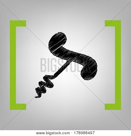 Simple corkscrew sign. Vector. Black scribble icon in citron brackets on grayish background.