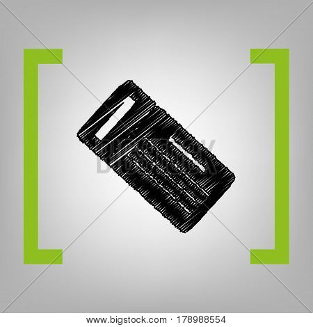 Ticket simple sign. Vector. Black scribble icon in citron brackets on grayish background.