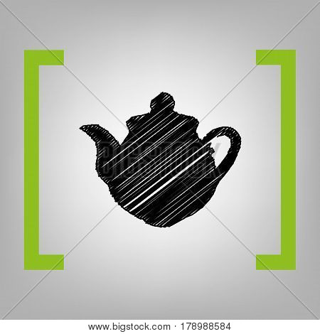 Tea maker Kitchen sign. Vector. Black scribble icon in citron brackets on grayish background.