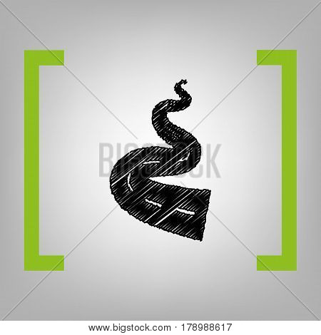 Road simple sign. Vector. Black scribble icon in citron brackets on grayish background.