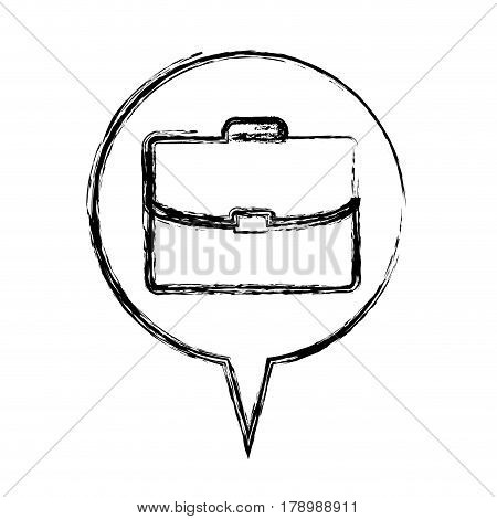 figure round chat bubble with briefcase inside