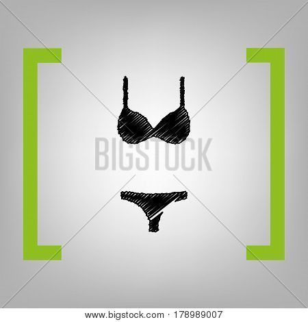 Women wimsuit sign. Vector. Black scribble icon in citron brackets on grayish background.