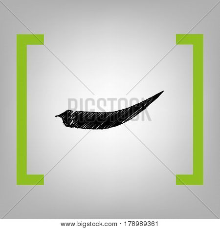 Chilli pepper sign. Vector. Black scribble icon in citron brackets on grayish background.