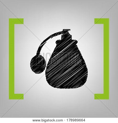 Vector black perfume icon set. Perfume Icon Object, Perfume Icon Picture. Vector. Black scribble icon in citron brackets on grayish background.