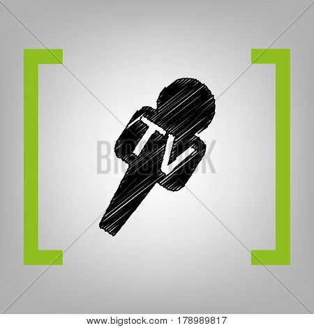 TV microphone sign illustration. Vector. Black scribble icon in citron brackets on grayish background.