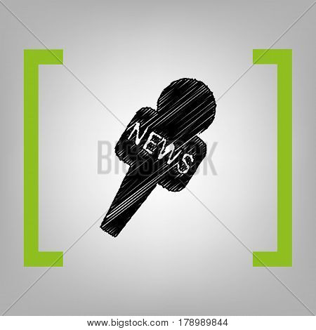 TV news microphone sign illustration. Vector. Black scribble icon in citron brackets on grayish background.