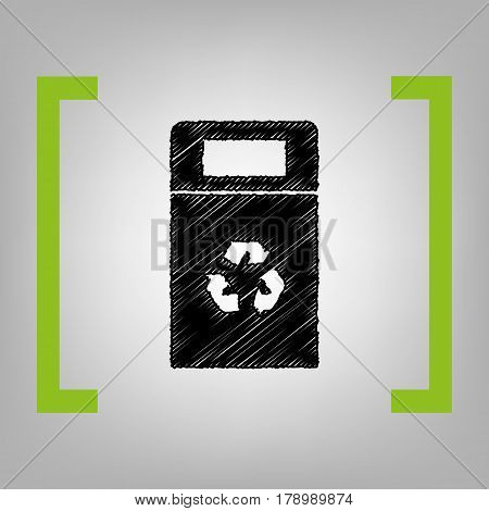 Trashcan sign illustration. Vector. Black scribble icon in citron brackets on grayish background.