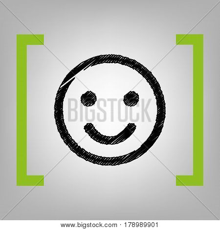 Fishing Hook sign illustration. Vector. Black scribble icon in citron brackets on grayish background.