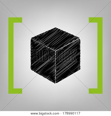 Cube sign illustration. Vector. Black scribble icon in citron brackets on grayish background.
