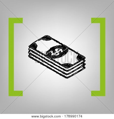 Bank Note dollar sign. Vector. Black scribble icon in citron brackets on grayish background.