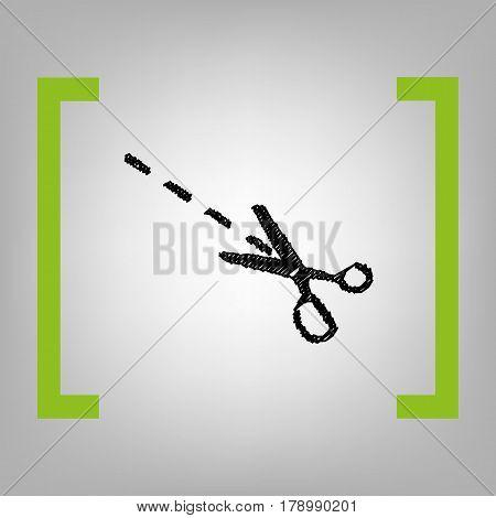 Scissors sign illustration. Vector. Black scribble icon in citron brackets on grayish background.