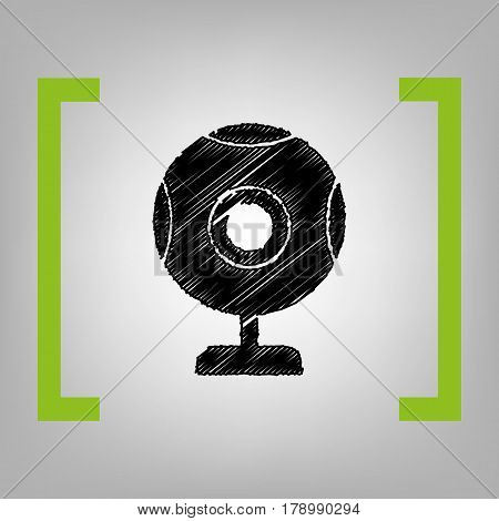 Chat web camera sign. Vector. Black scribble icon in citron brackets on grayish background.