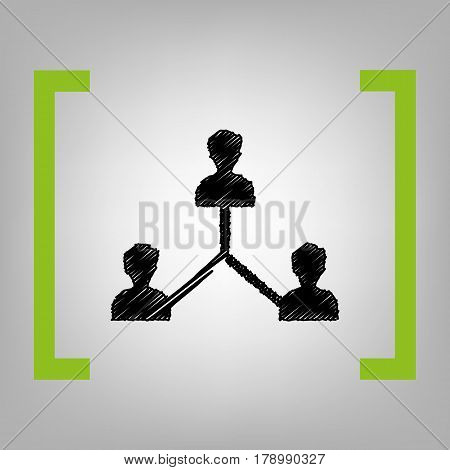 Social media marketing sign. Vector. Black scribble icon in citron brackets on grayish background.