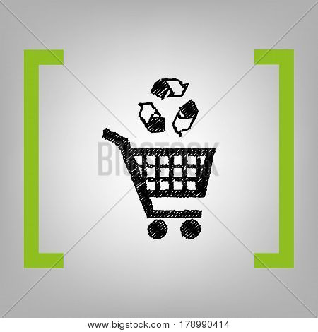 Shopping cart icon with a recycle sign Vector. Black scribble icon in citron brackets on grayish background.