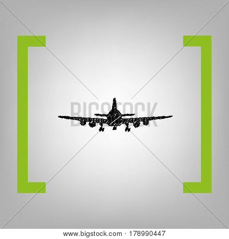 Flying Plane sign. Front view. Vector. Black scribble icon in citron brackets on grayish background.