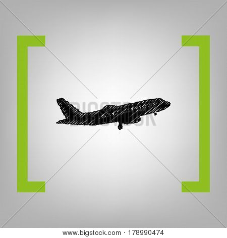 Flying Plane sign. Side view. Vector. Black scribble icon in citron brackets on grayish background.