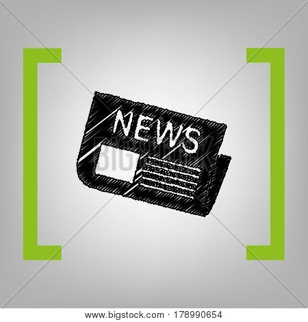 Newspaper sign. Vector. Black scribble icon in citron brackets on grayish background.