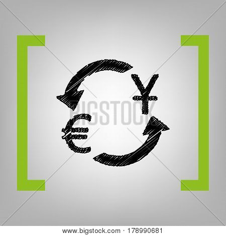 Currency exchange sign. Dollar and Euro. Vector. Black scribble icon in citron brackets on grayish background.
