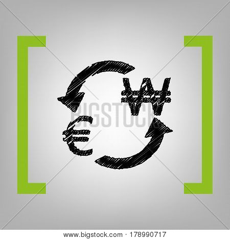 Currency exchange sign. Euro and South Korea Won. Vector. Black scribble icon in citron brackets on grayish background.