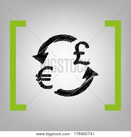 Currency exchange sign. Euro and UK Pound. Vector. Black scribble icon in citron brackets on grayish background.