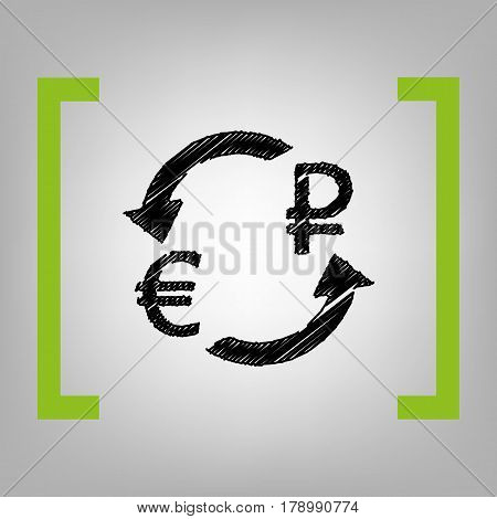 Currency exchange sign. Euro and Russia Rouble. Vector. Black scribble icon in citron brackets on grayish background.