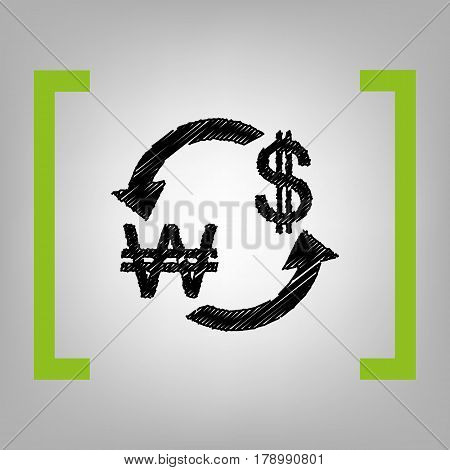 Currency exchange sign. South Korea Won and US Dollar. Vector. Black scribble icon in citron brackets on grayish background.