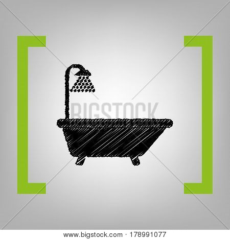 Bathtub sign. Vector. Black scribble icon in citron brackets on grayish background.