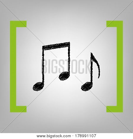 Music notes sign. Vector. Black scribble icon in citron brackets on grayish background.