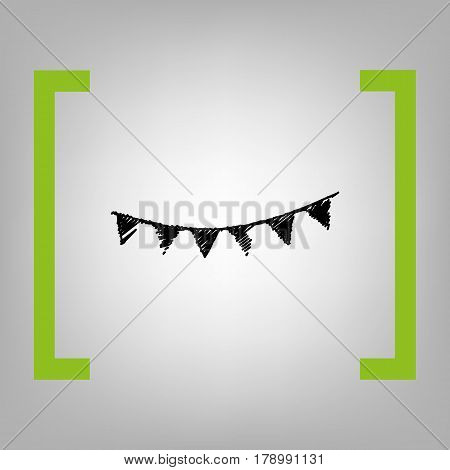 Holiday flags garlands sign. Vector. Black scribble icon in citron brackets on grayish background.