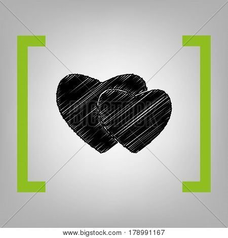 Two hearts sign. Vector. Black scribble icon in citron brackets on grayish background.