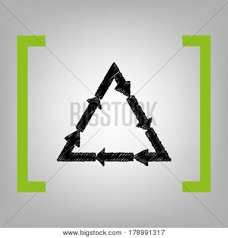 Plastic recycling symbol PVC 3 , Plastic recycling code PVC 3. Vector. Black scribble icon in citron brackets on grayish background.