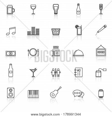 Bar line icons with reflect on white background, stock vector