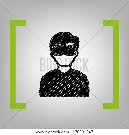 Man with sleeping mask sign. Vector. Black scribble icon in citron brackets on grayish background.