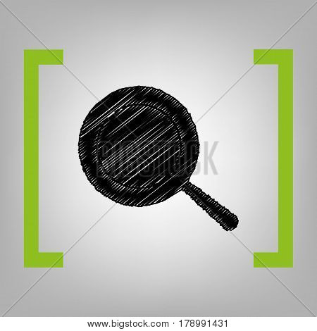Pan sign. Vector. Black scribble icon in citron brackets on grayish background.