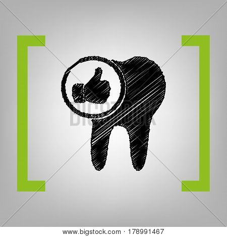 Tooth sign with thumbs up symbol. Vector. Black scribble icon in citron brackets on grayish background.
