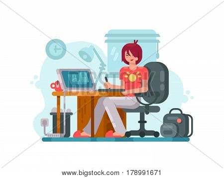 Workplace designer. Girl draws by using graphic tablet. Vector illustration